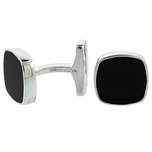 Sterling Silver Black Cufflinks Square Swivel Bar, 5/8 inch wide