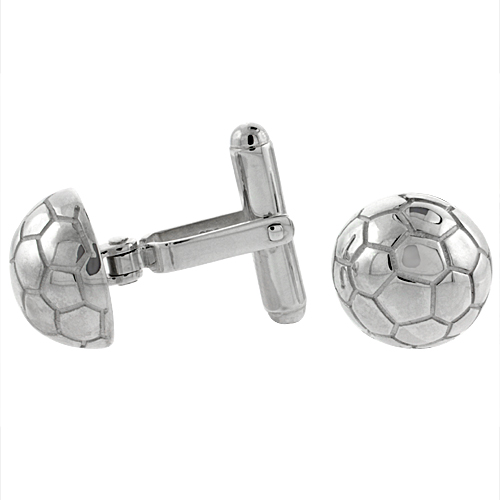 Sterling Silver Soccer Ball Cufflinks Swivel Bar, 9/16 inch wide