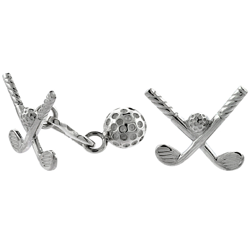 Sterling Silver Golf Club with Ball Cufflinks, 11/16 inch wide