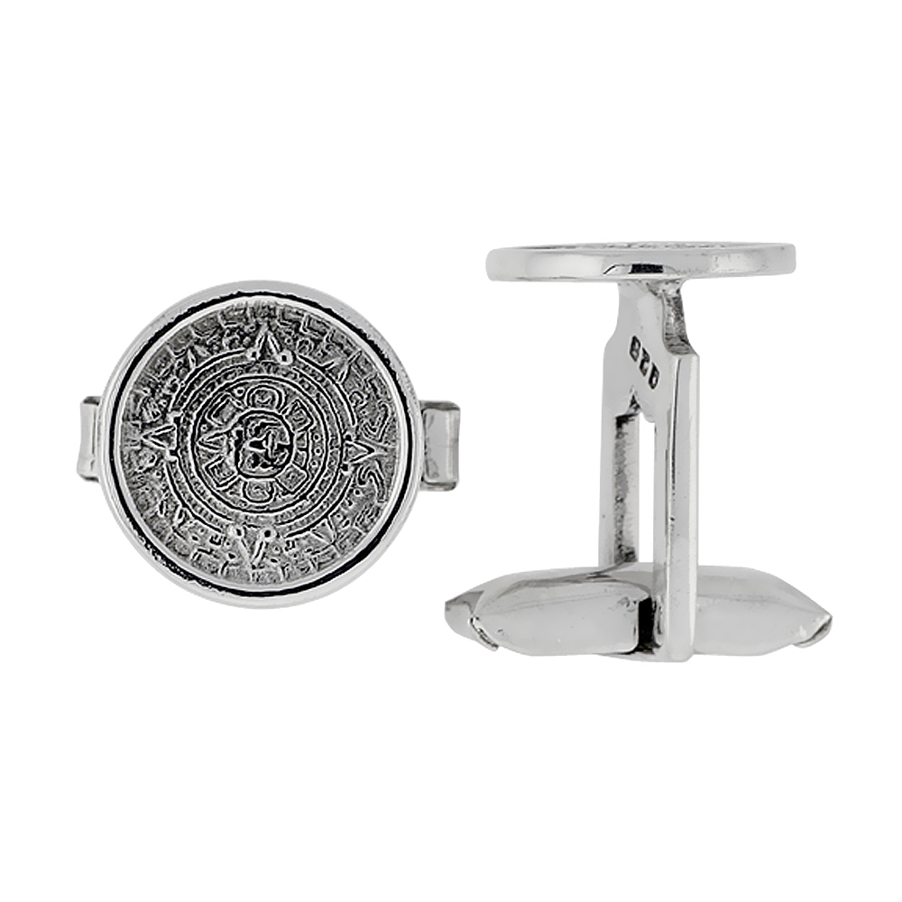Sterling Silver Aztec Calendar Round Cufflinks Swivel Bar, 5/8 inch wide