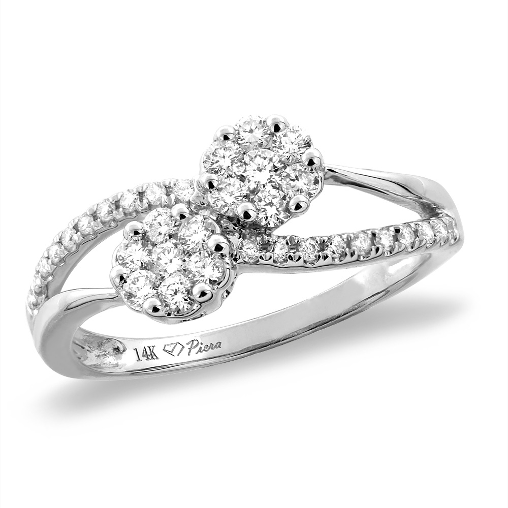 14K White/Yellow Gold 0.45 cttw Genuine Diamond Bypass Engagement Ring, sizes 5 -10