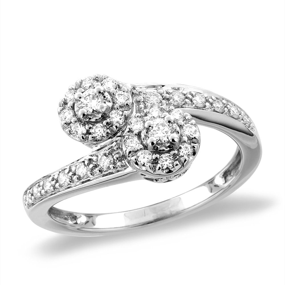 14K White/Yellow Gold 0.38 cttw Genuine Diamond Bypass Engagement Ring, sizes 5 -10