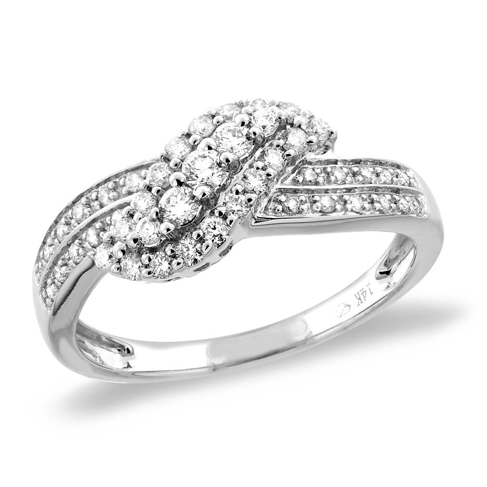 14K White/Yellow Gold 0.4 cttw Genuine Diamond Engagement Ring Wavy, sizes 5 - 10