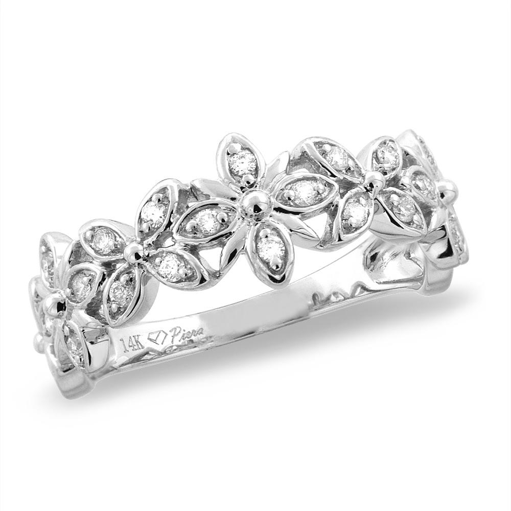 14K White/Yellow Gold 0.21 cttw Genuine Diamond Flower Wedding Band, sizes 5 - 10