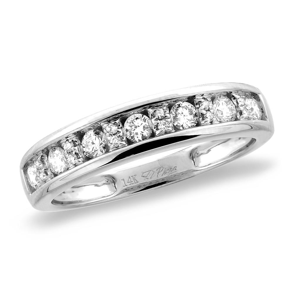 14K White/Yellow Gold 0.37 cttw Genuine Diamond Half Eternity Wedding Band, sizes 5 - 10