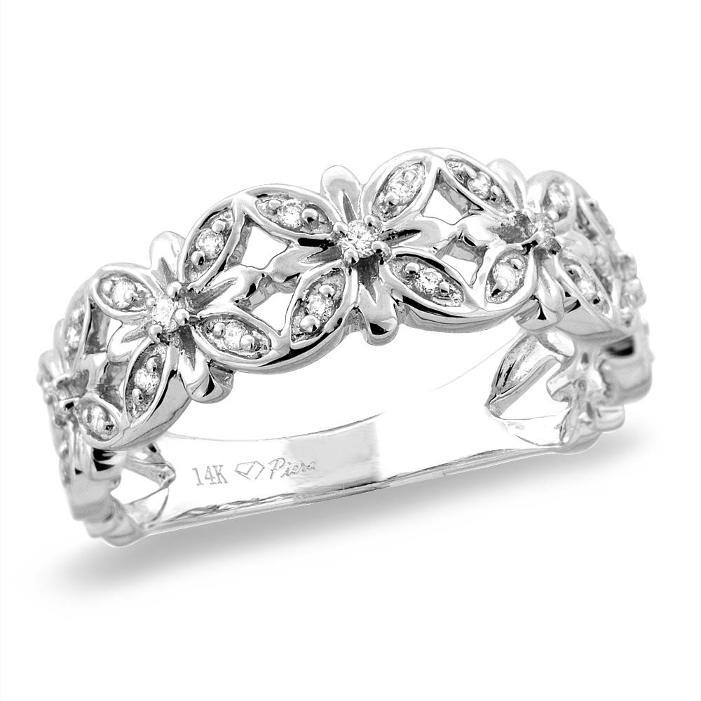 14K White/Yellow Gold 0.14 cttw Genuine Diamond Flower Wedding Band, sizes 5 - 10