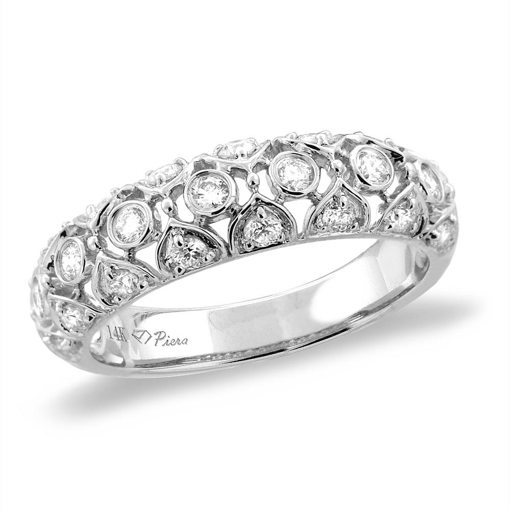14K White/Yellow Gold 0.54 cttw 3-row Genuine Diamond Eternity Wedding Band, sizes 5 - 10
