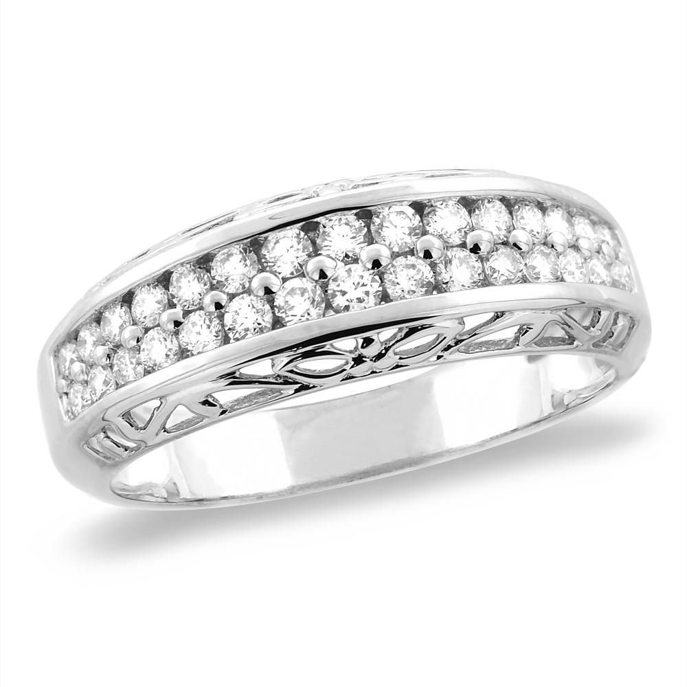 14K White/Yellow Gold 0.48 cttw Genuine Diamond 2row Half Eternity Wedding Band, sizes 5 - 10