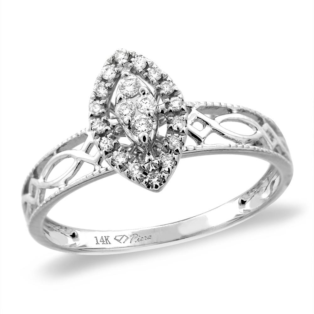 14K White/Yellow Gold 0.13 cttw Genuine Diamond Marquise Engagement Ring, sizes 5 - 10