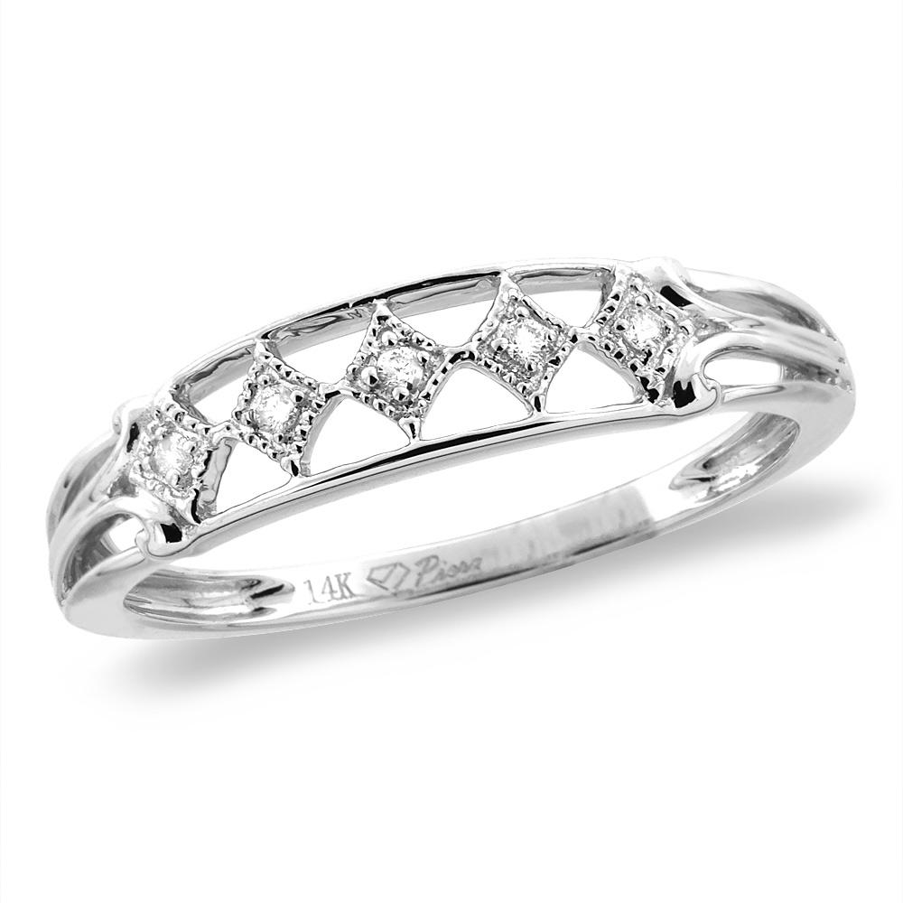 14K White/Yellow Gold 0.03 cttw Genuine Diamond Rhombuses Wedding Band, sizes 5 - 10