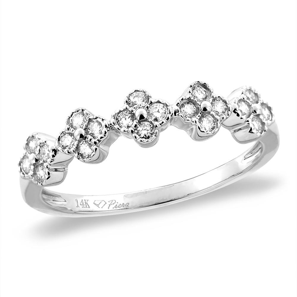 14K White/Yellow Gold 0.27 cttw Genuine Diamond Flowers Wedding Band, sizes 5 - 10