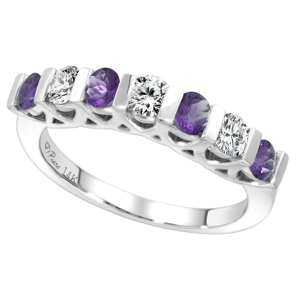 14k White Gold Genuine Amethyst and Diamond 7-Stone Ring Round Brilliant cut 0.35cttw 3mm, size 5-10