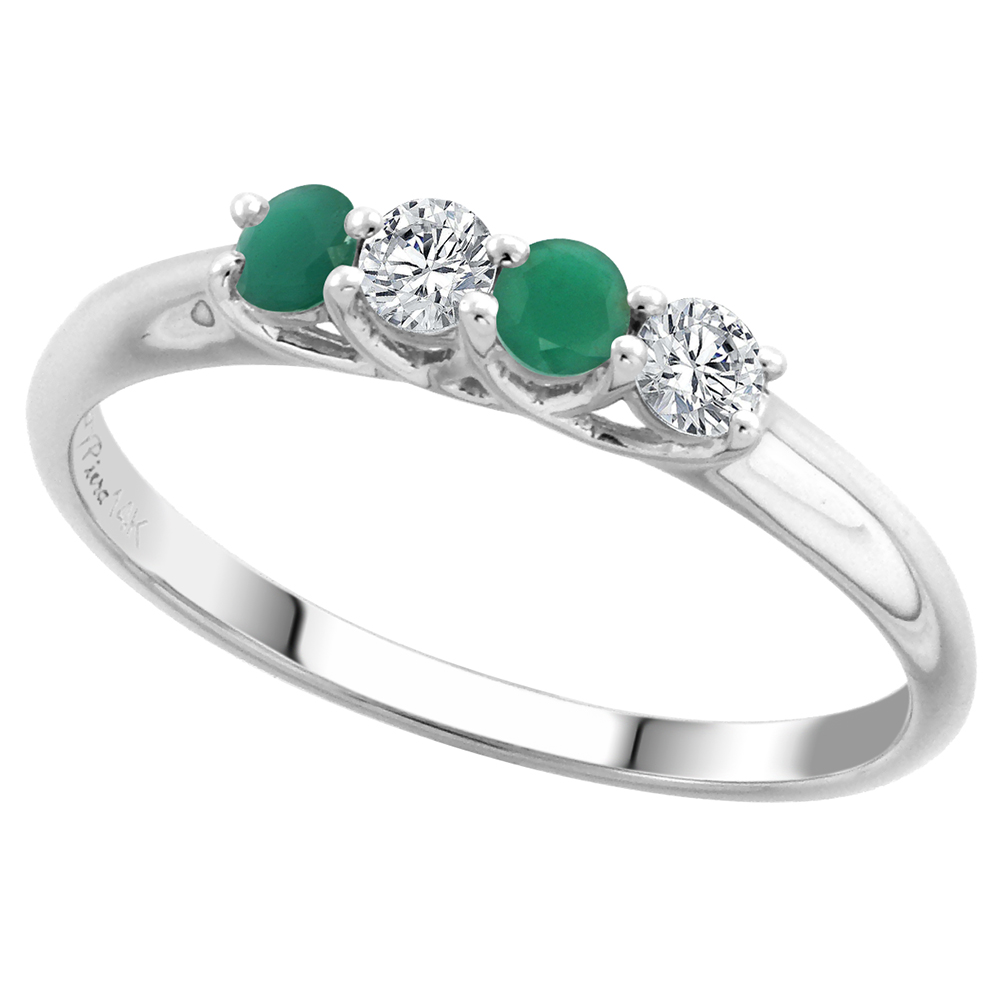 14k White Gold Genuine Emerald and Diamond 4-Stone Ring Round Brilliant cut 0.17ct 2.7mm, size 5-10