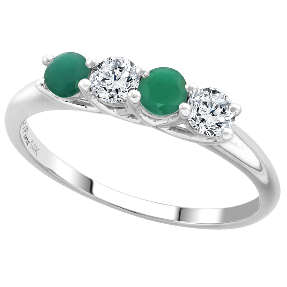 14k White Gold Genuine Emerald and Diamond 4-Stone Ring Round Brilliant cut 0.28ct 3.2mm, size 5-10