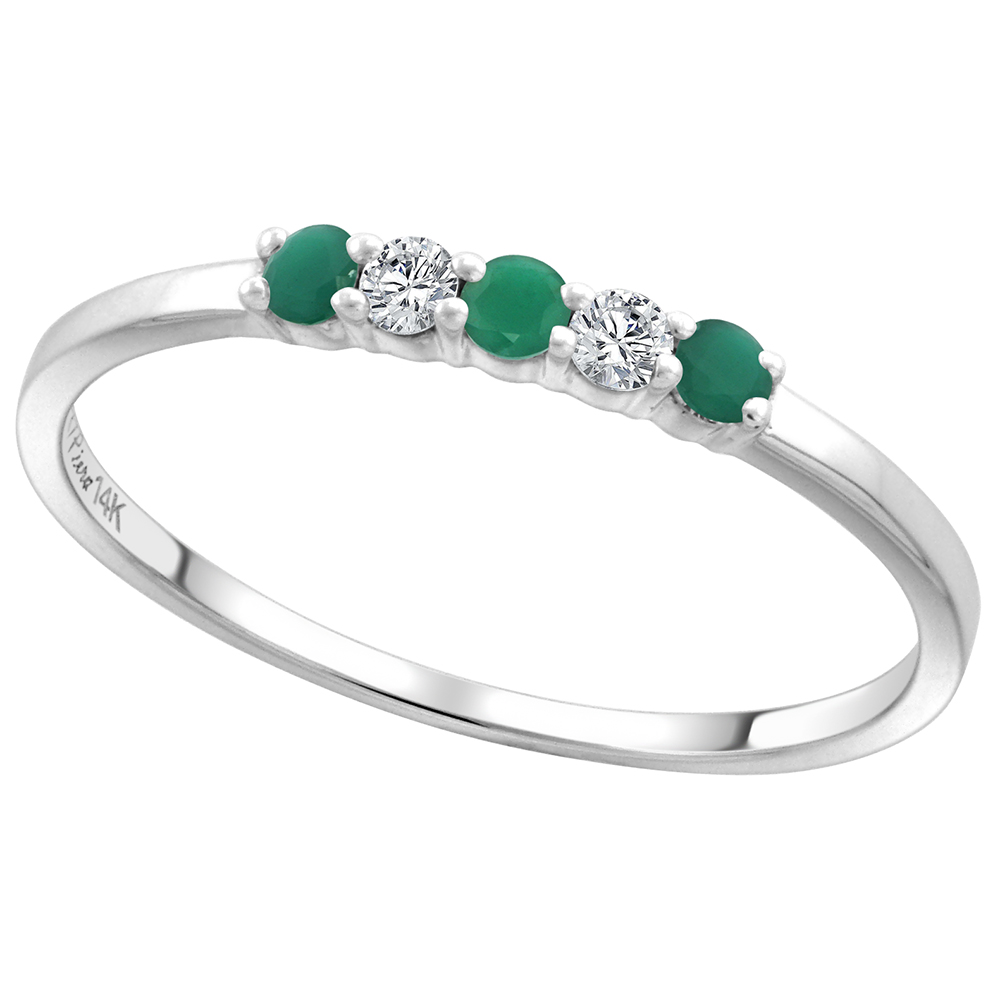14k White Gold Genuine Emerald and Diamond 5-Stone Ring Round Brilliant cut 0.08cttw 2mm, size 5-10