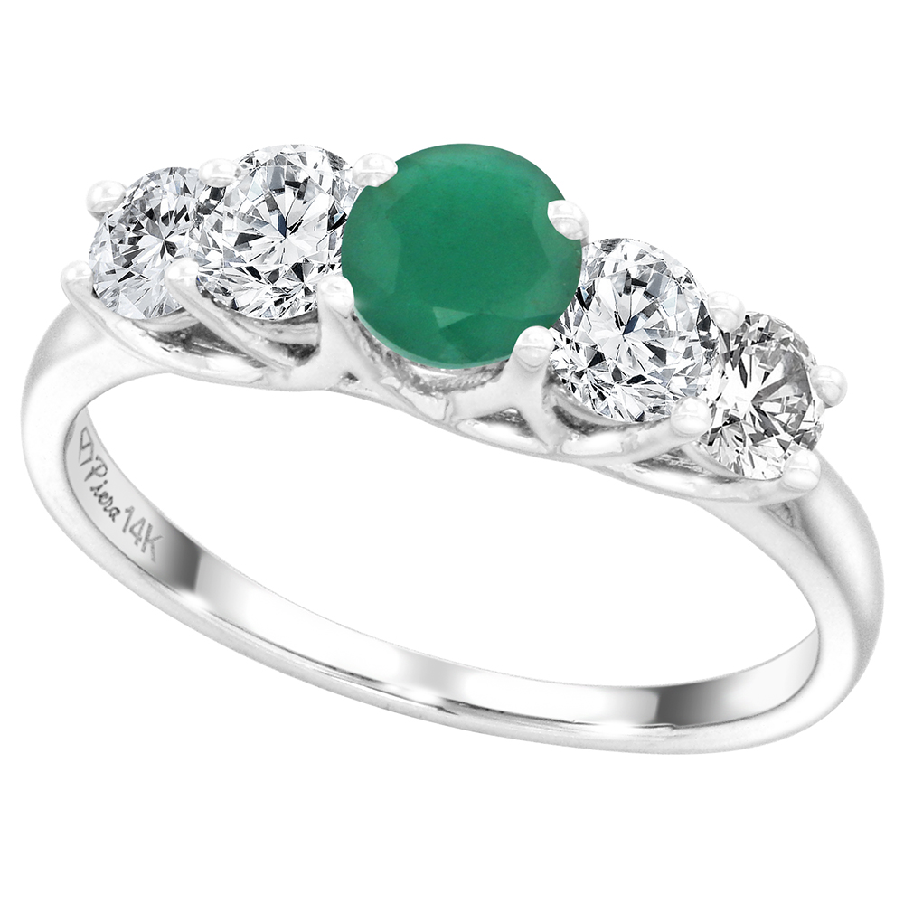 14k White Gold 0.7ct Diamond & Genuine Emerald 5-Stone Ring Round Briliant cut 4.8mm, size 5-10