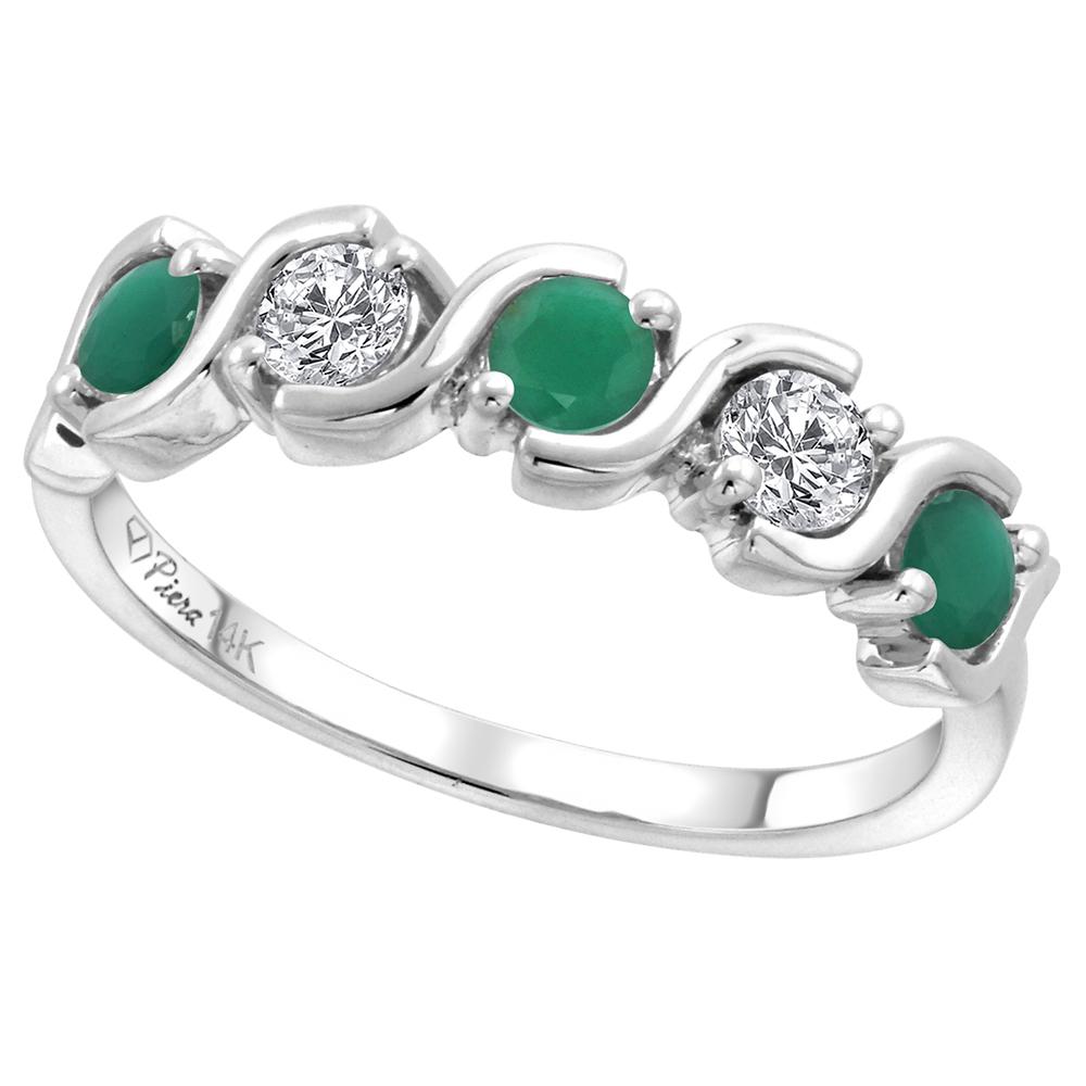 14k White Gold 5-Stone Diamond & Genuine Emerald Ring Round Brilliant cut 0.23 cttw 3mm, size 5-10