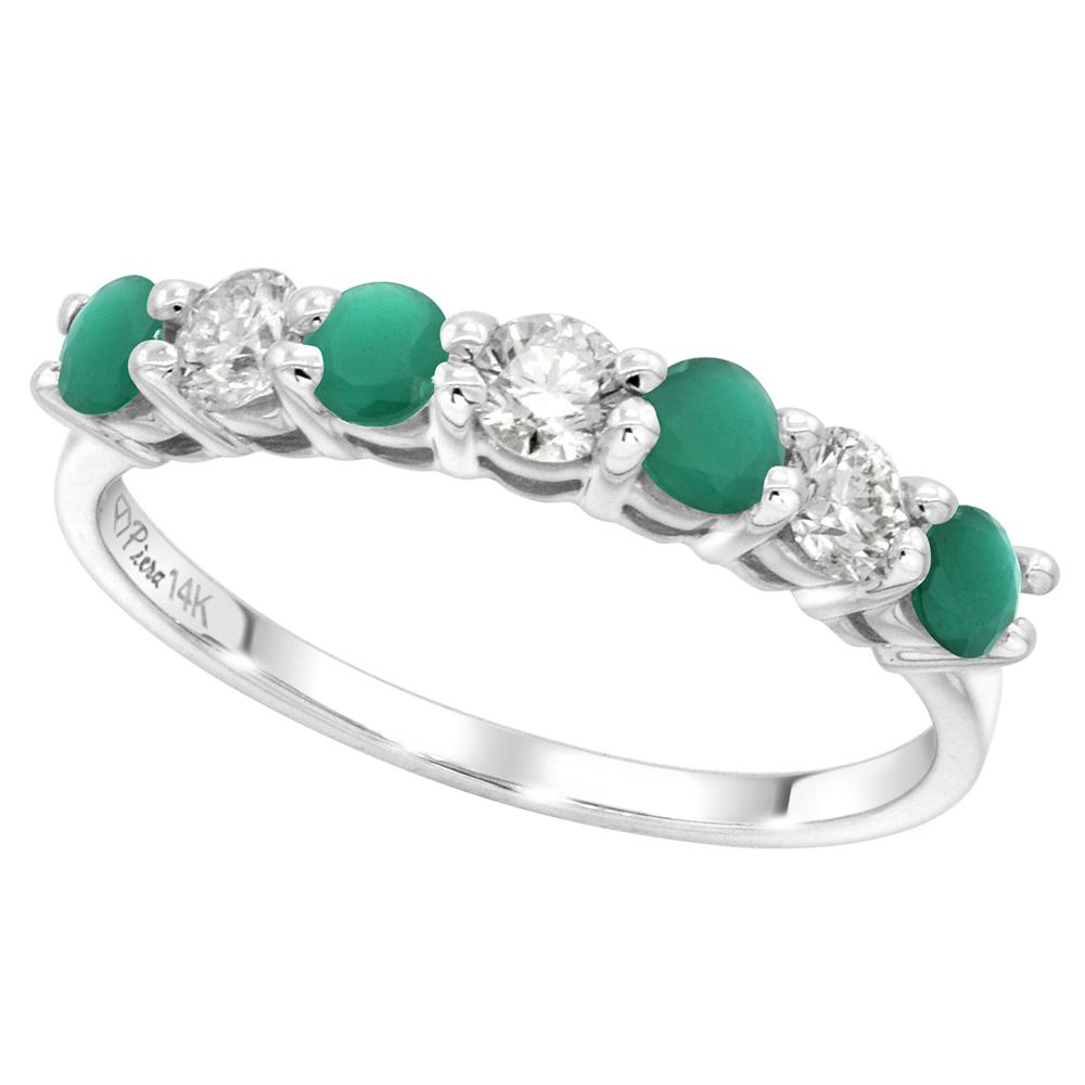 14k White Gold Genuine Emerald and Diamond 7-stone Ring Round Brilliant cut 0.35ct 3mm, size 5-10
