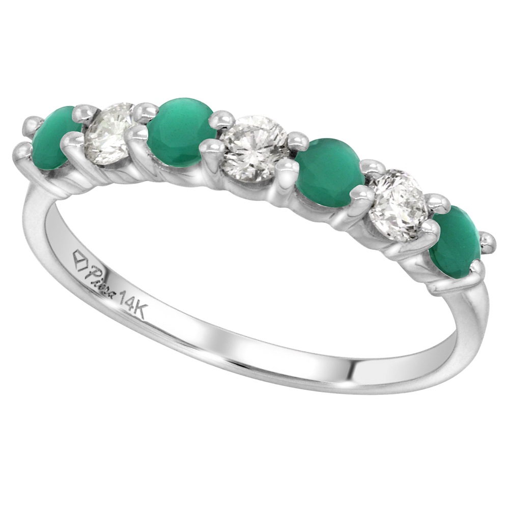 14k White Gold Genuine Emerald and Diamond 7-Stone Ring Round Brilliant cut 0.35cttw 3mm, size 5-10