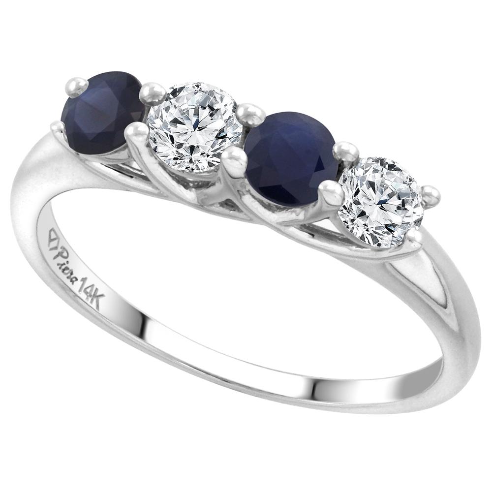 14k White Gold Genuine Ceylon Sapphire & Diamond 4-Stone Ring Round Brilliant cut 0.4cttw 3.7mm size 5-10