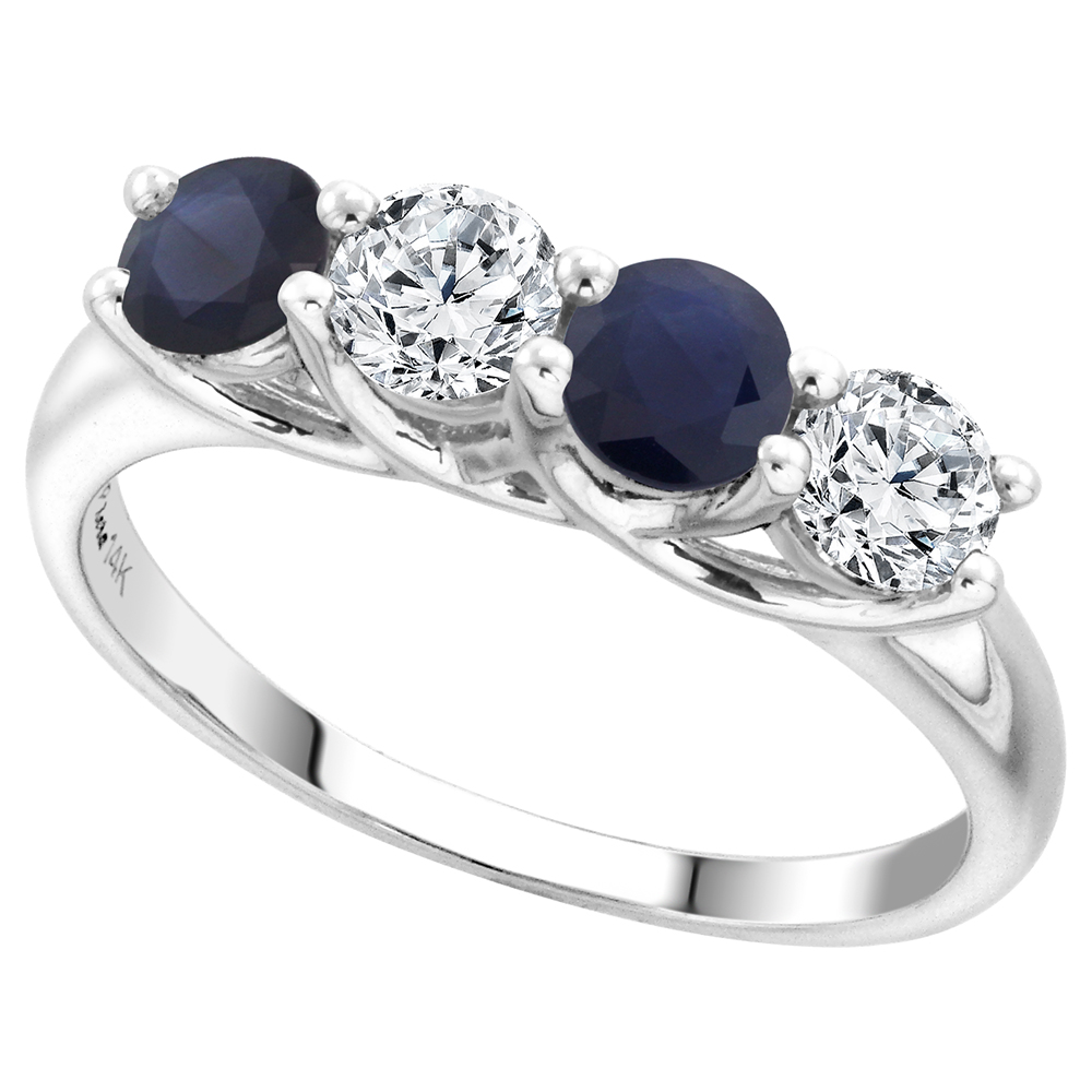 14k White Gold Genuine Ceylon Sapphire & Diamond 4-Stone Ring Round Brilliant cut 0.5cttw 4.1mm size 5-10