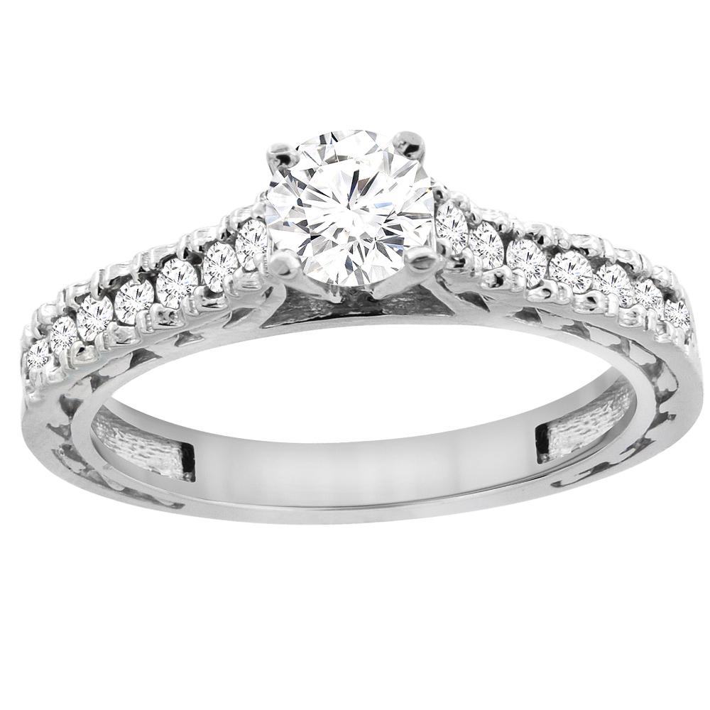 14K White Gold Diamond Engraved Engagement Ring 0.70 cttw, sizes 5 - 10