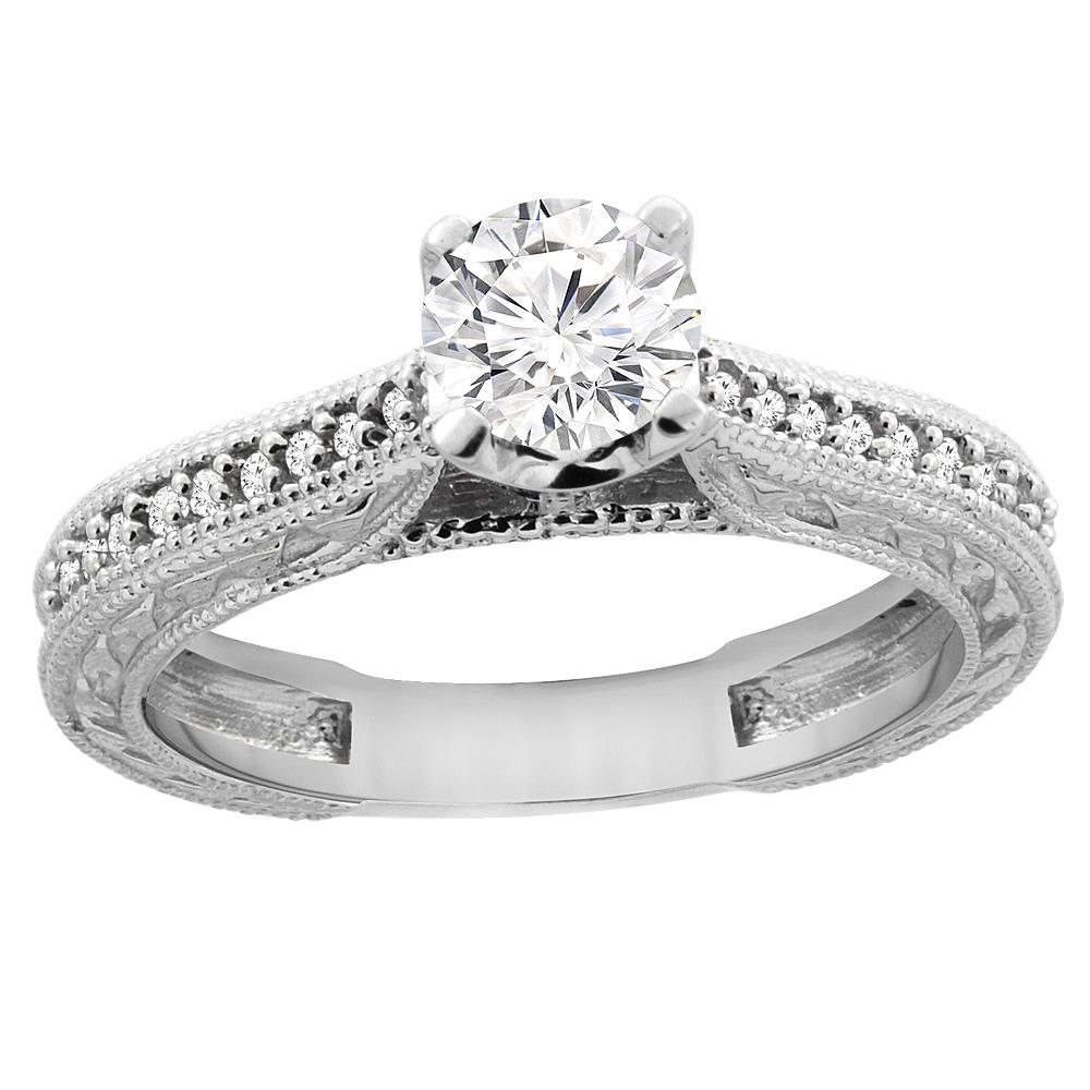 14K White Gold Diamond Engraved Engagement Ring 0.65 cttw, sizes 5 - 10