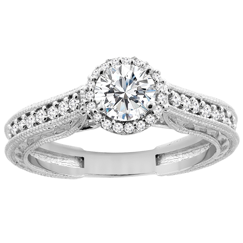 14K White Gold Diamond Engraved Engagement Ring 0.64 cttw, sizes 5 - 10