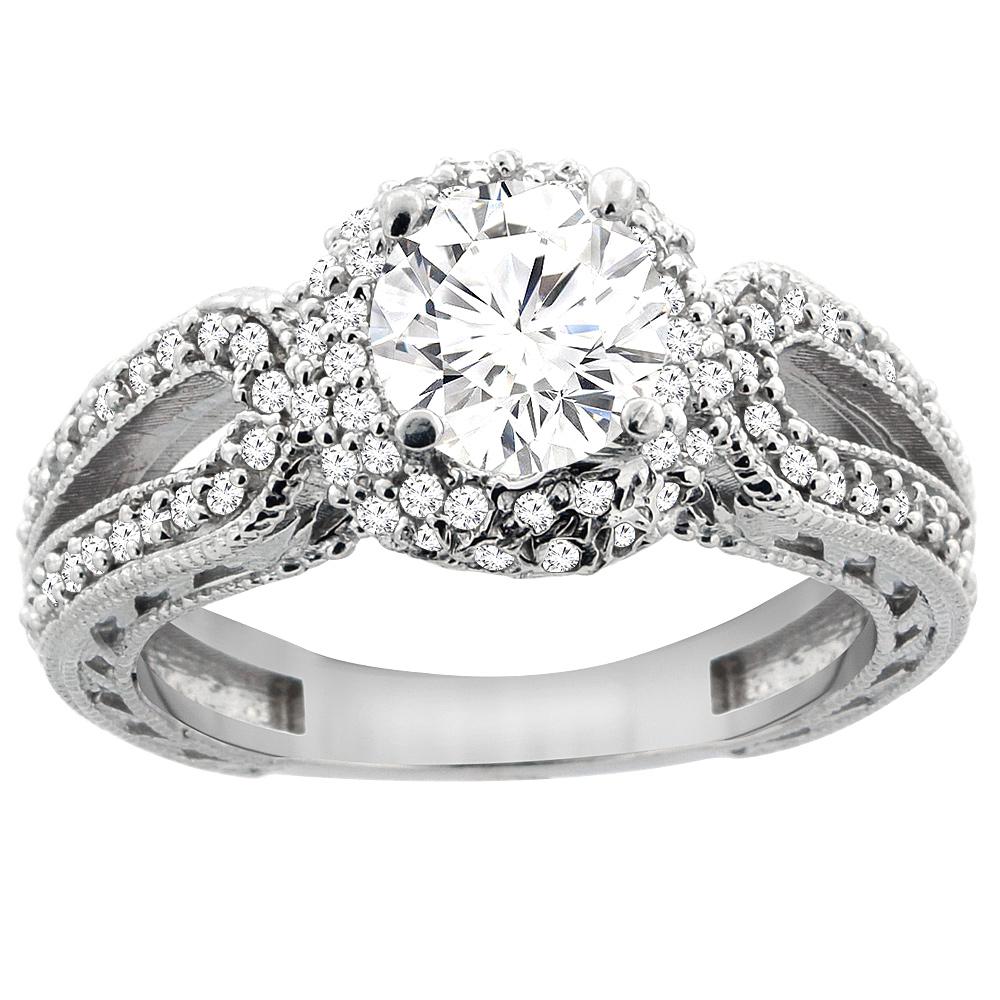 14K White Gold Diamond Engagement Ring Engraved Split Shank 1.25cttw, sizes 5 - 10