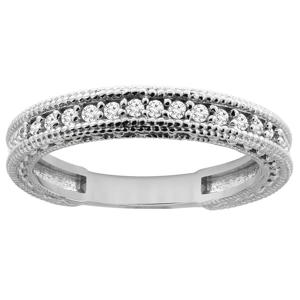 14K White Gold Diamond Wedding Band Engraved Ring Half Eternity, sizes 5 - 10