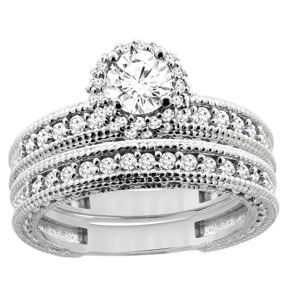 14K White Gold Diamond Engraved Engagement Ring 2-piece Set 0.91 cttw, sizes 5 - 10