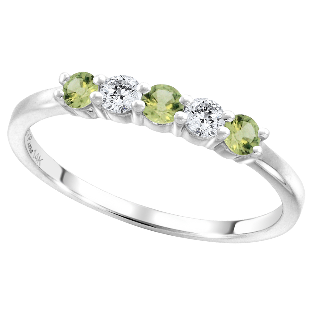 14k White Gold Genuine Green Sapphire & Diamond 5-Stone Ring Round Brilliant cut 0.17ct 2.7mm, size 5-10