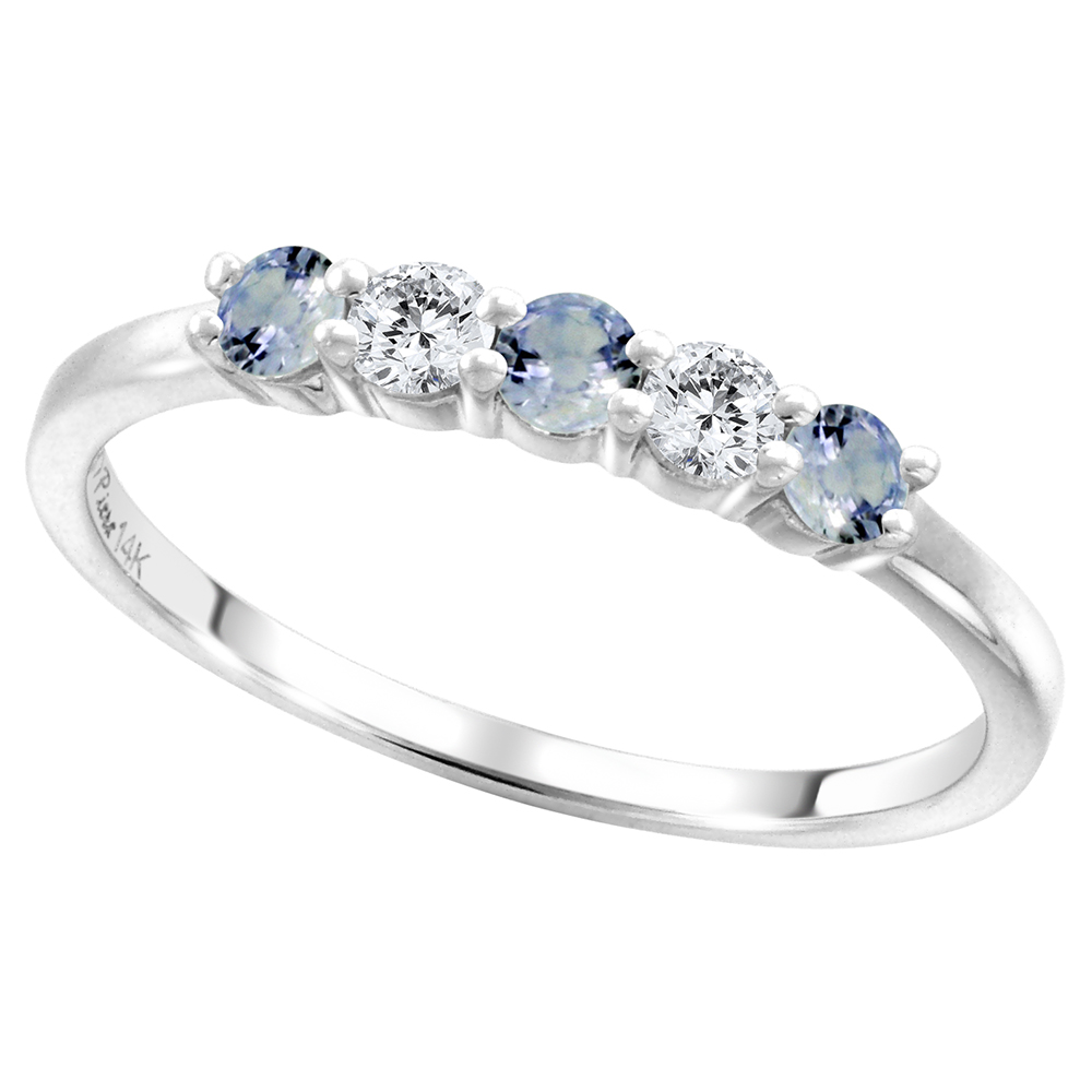 14k White Gold Genuine Lt Blue Sapphire & Diamond 5-Stone Ring Round Brilliant cut 0.17ct 2.7mm, size5-10