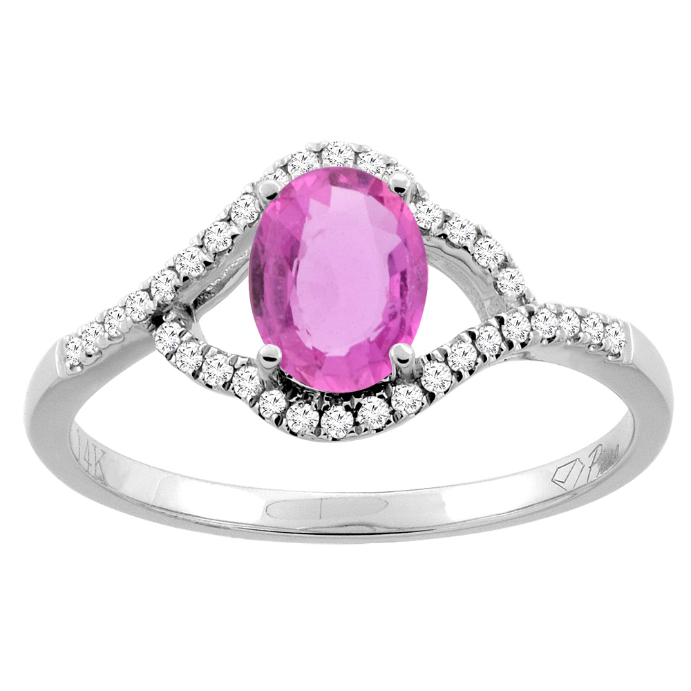 14K Gold Diamond Natural Pink Sapphire Engagement Ring Oval 7x5 mm, sizes 5 - 10