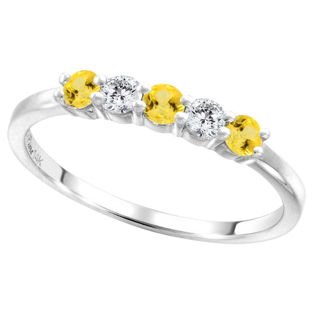 14k White Gold Genuine Yellow Sapphire & Diamond 5-Stone Ring Round Brilliant cut 0.17ct 2.7mm, size 5-10
