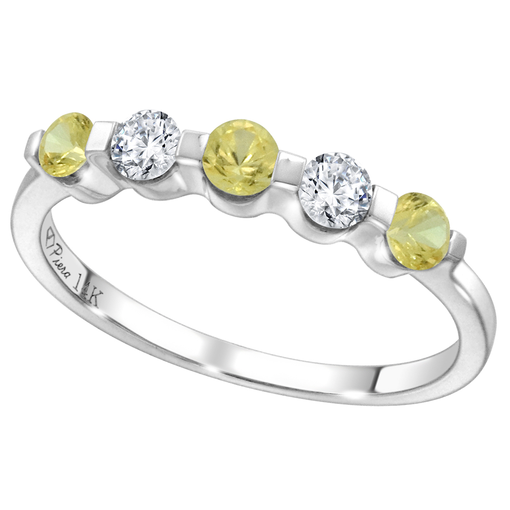 14k White Gold 0.23ct Diamond & Genuine Yellow Sapphire 5-Stone Ring Round Brilliant cut 3mm, size 5-10