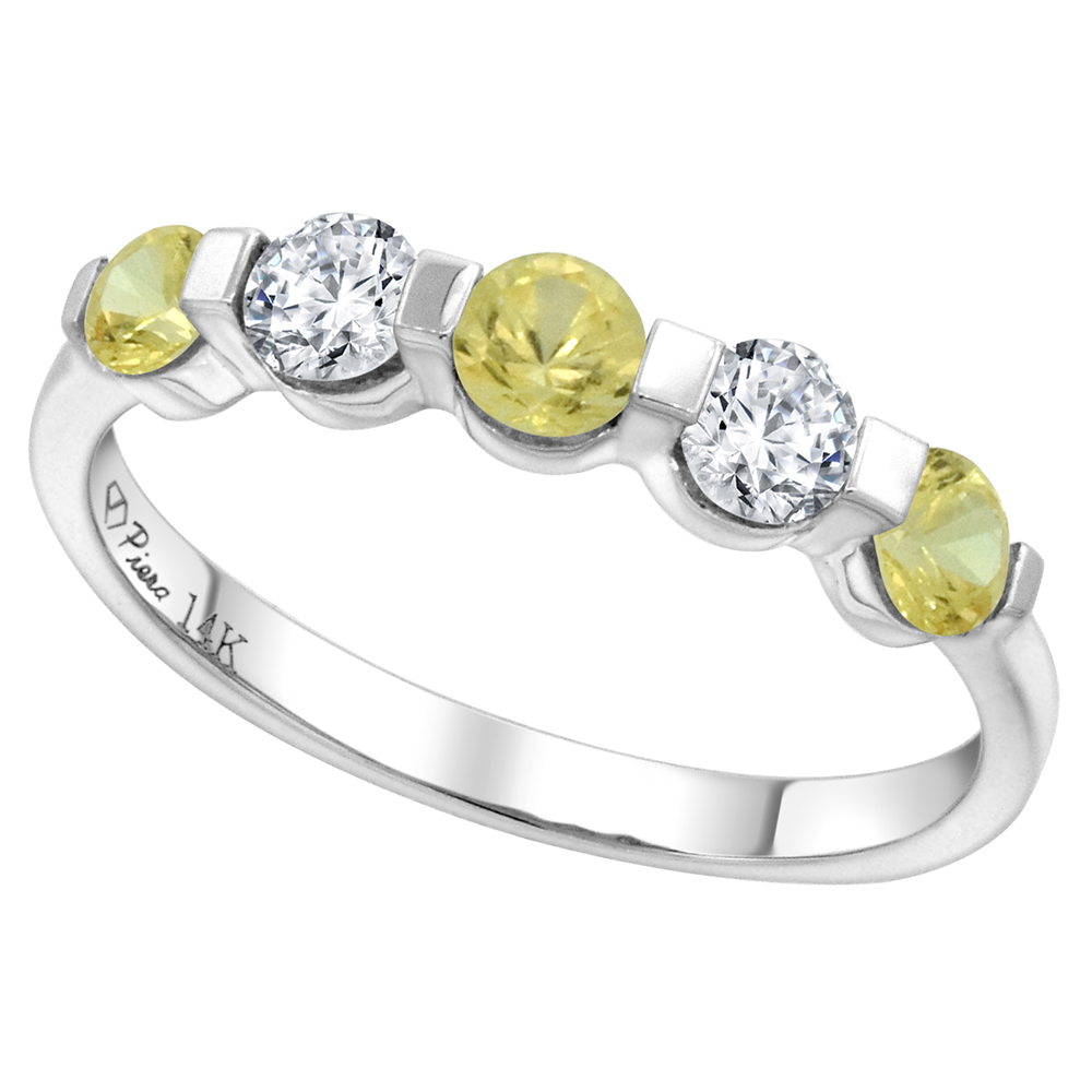 14k White Gold 0.33ct Diamond & Genuine Yellow Sapphire 5-Stone Ring Round Brilliant cut 3.4mm, size 5-10