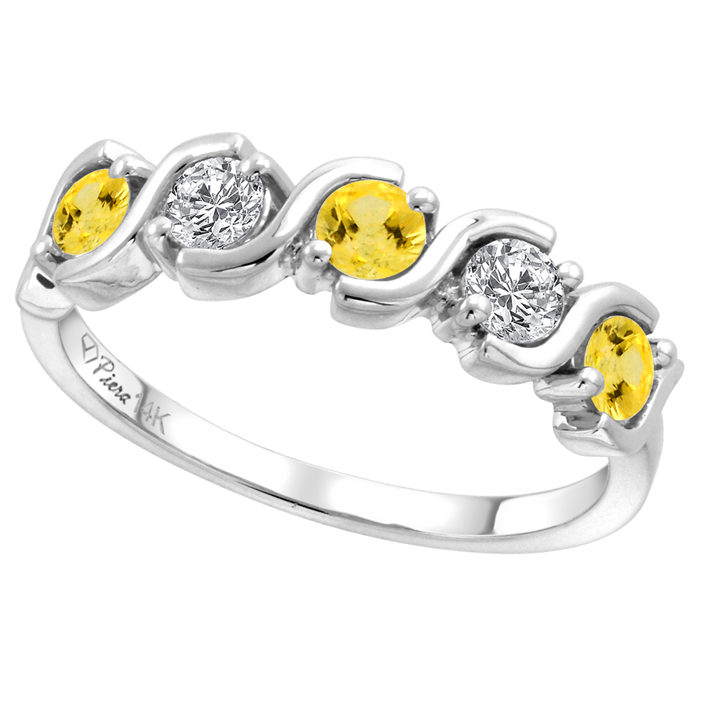 14k White Gold 5-Stone Diamond & Genuine Yellow Sapphire Ring Round Brilliant cut 0.23 cttw 3mm, size5-10