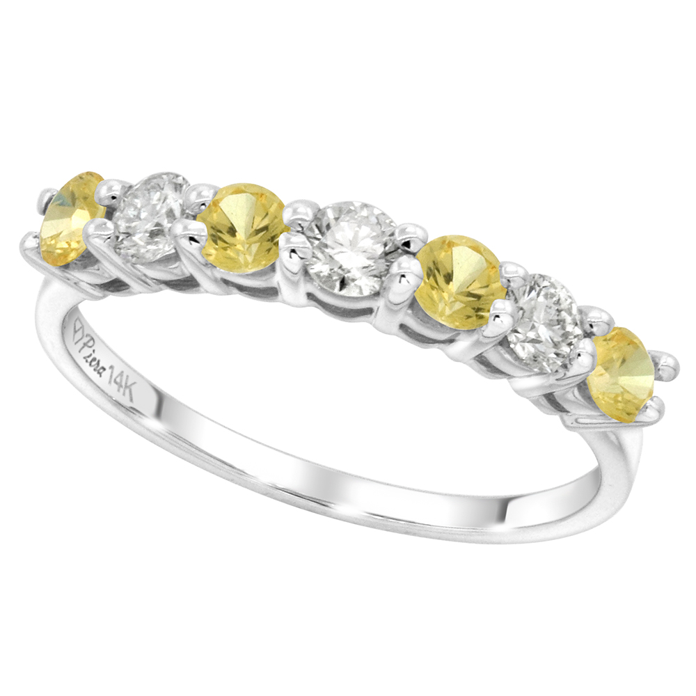 14k White Gold Genuine Yellow Sapphire and Diamond 7-stone Ring Round Brilliant cut 0.35ct 3mm, size5-10