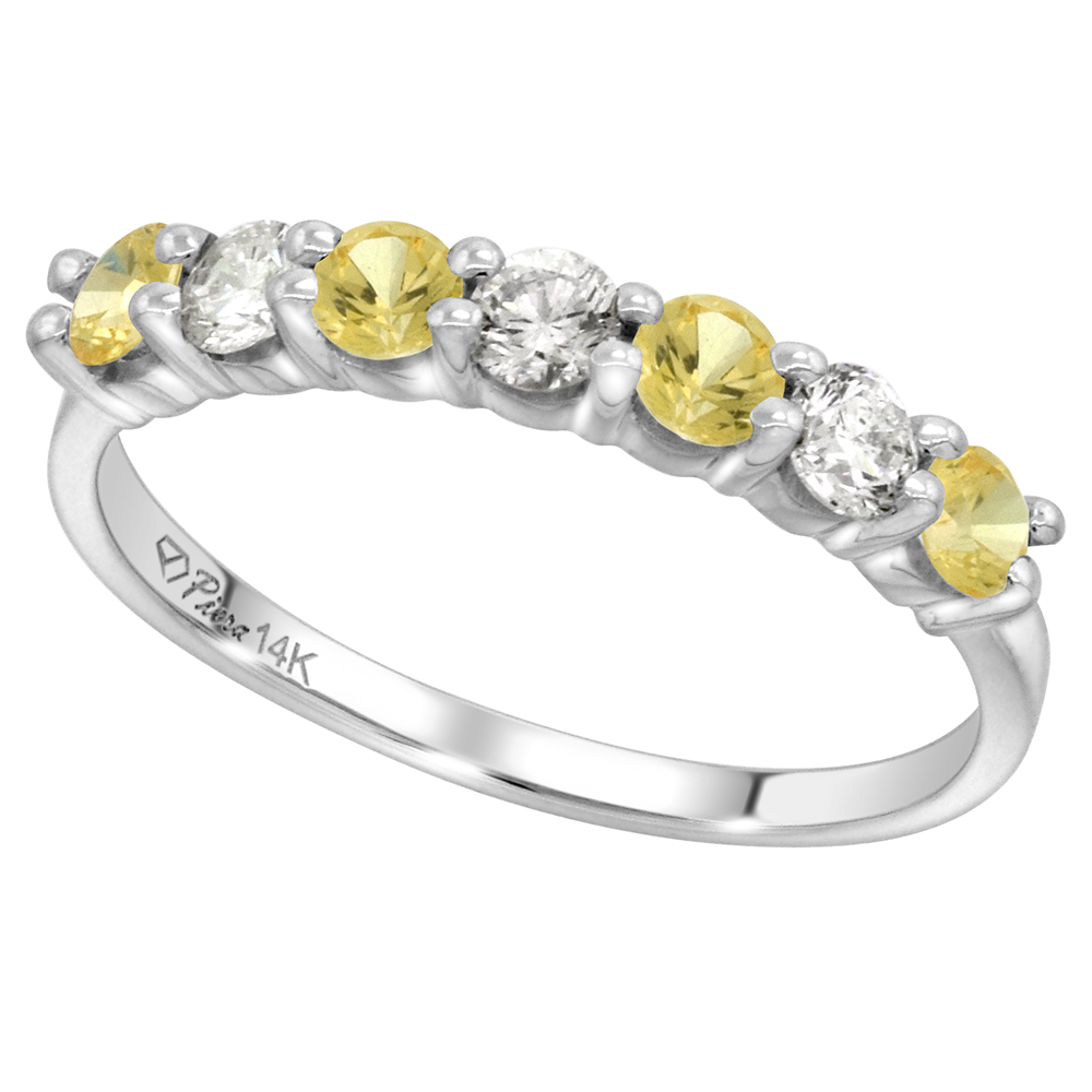 14k White Gold Genuine Yellow Sapphire and Diamond 7-Stone Ring Round Brilliant cut 0.35cttw 3mm,size5-10