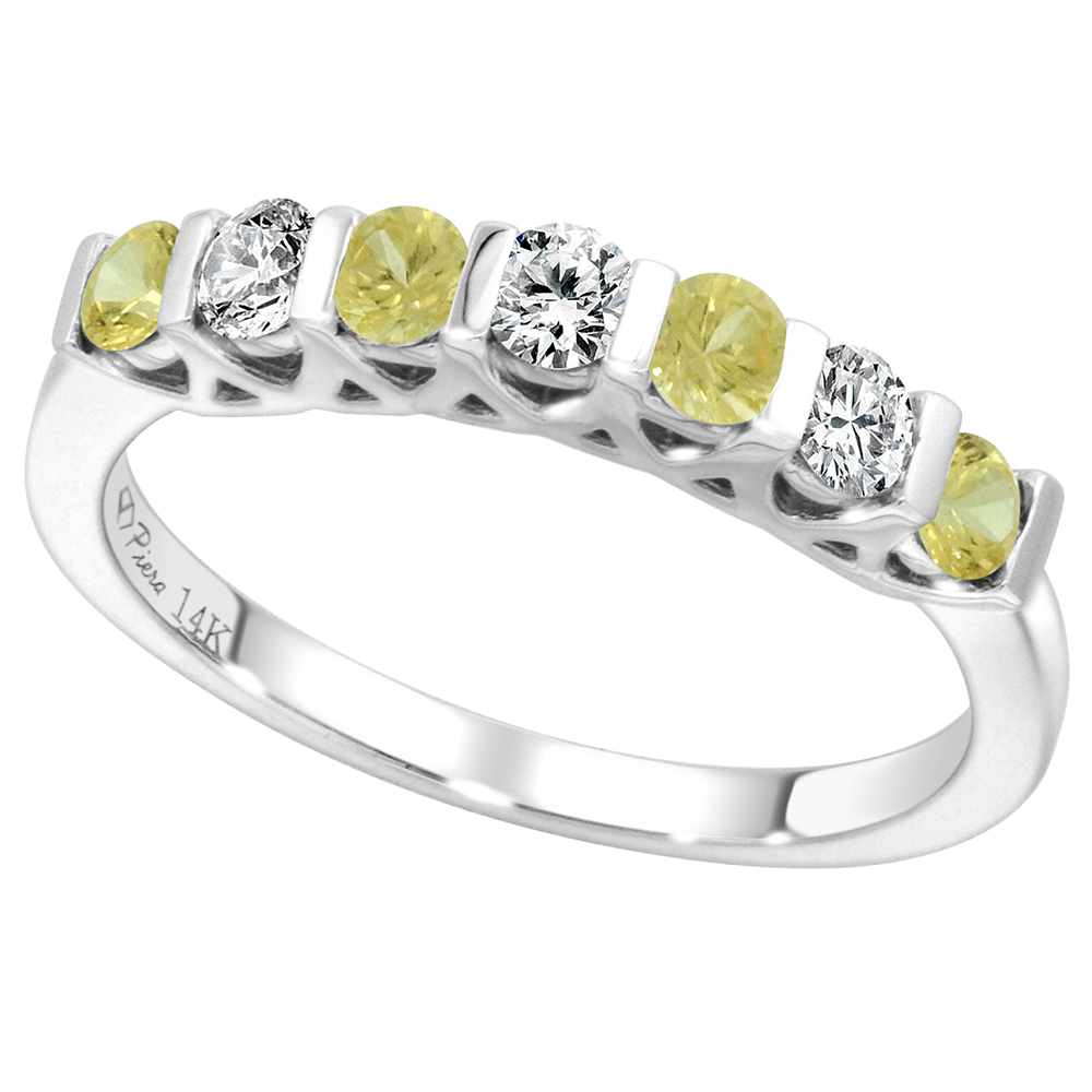 14k White Gold Genuine Yellow Sapphire & Diamond 7-Stone Ring Round Brilliant cut 0.3cttw 2.8mm, size5-10