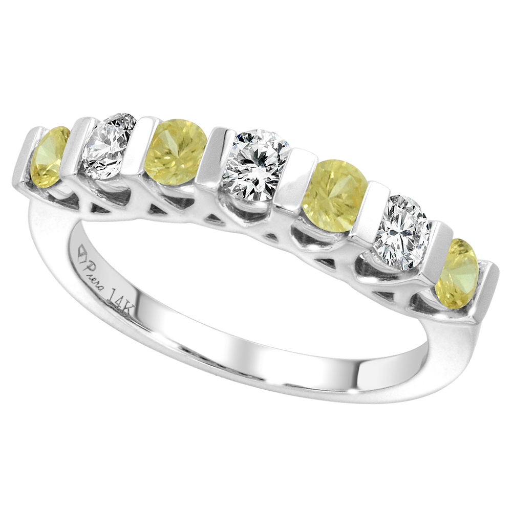 14k White Gold Genuine Yellow Sapphire & Diamond 7-Stone Ring Round Brilliant cut 0.35cttw 3mm, size5-10