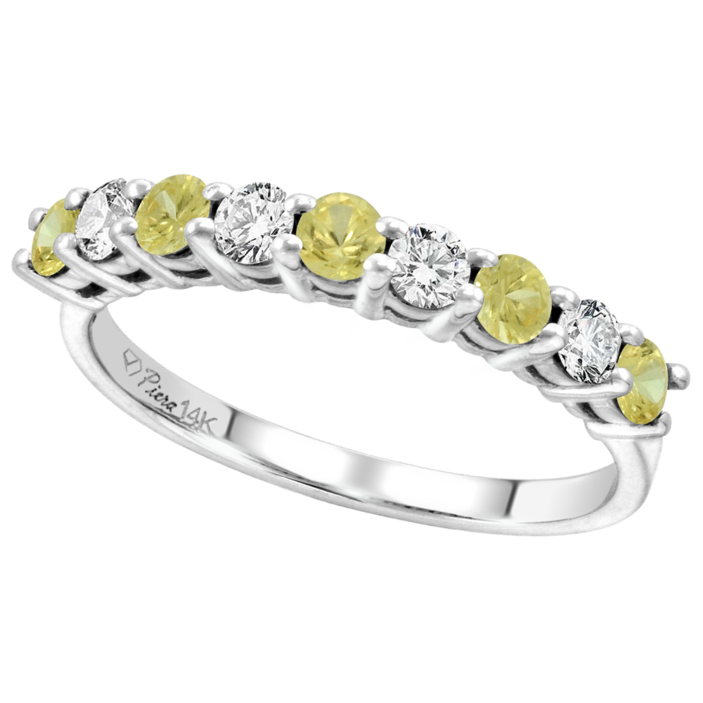 14k White Gold Diamond & Genuine Yellow Sapphire 9-Stone Ring Round Brilliant cut 0.4cttw 2.8mm,size5-10
