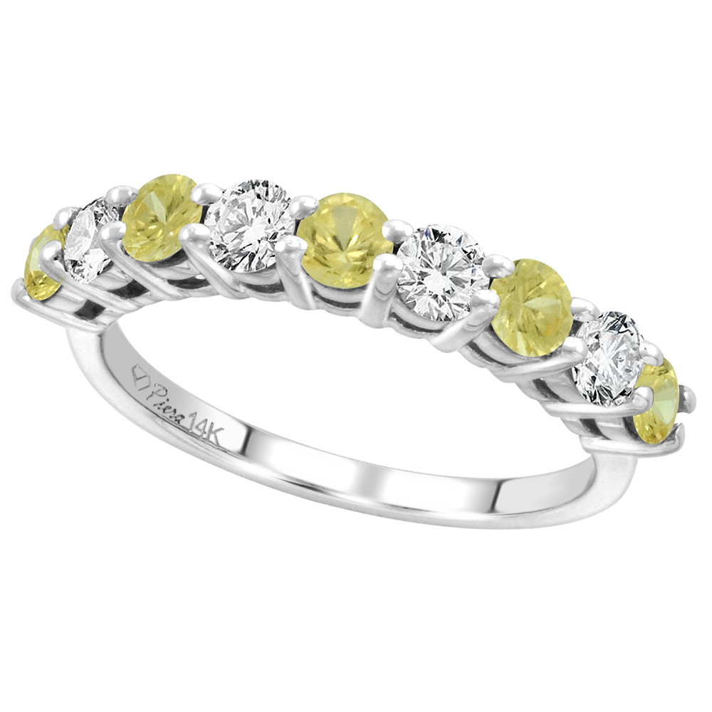14k White Gold Diamond & Genuine Yellow Sapphire 9-Stone Ring Round Brilliant cut 0.52 ct 3.1mm,size5-10