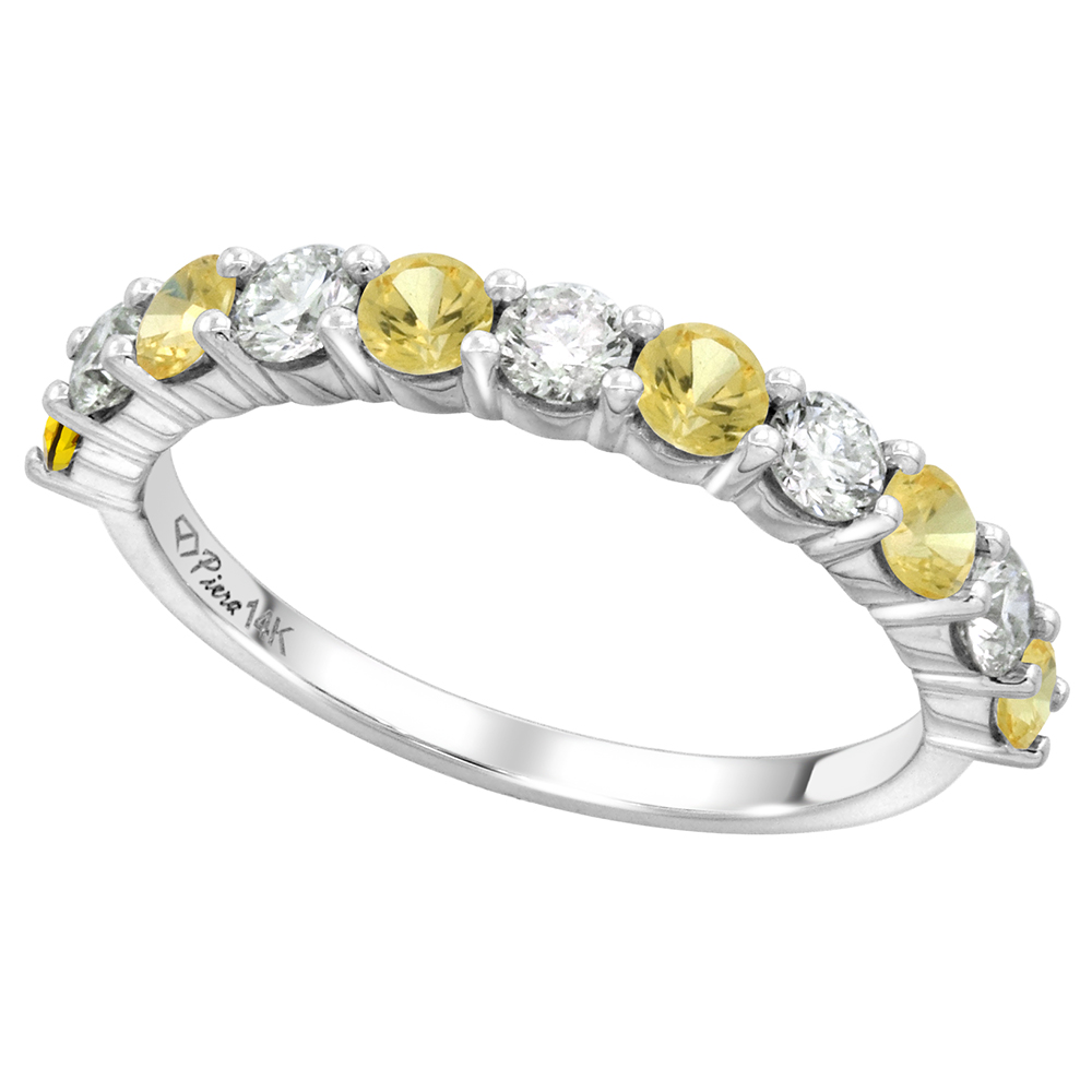 14k White Gold Genuine Yellow Sapphire & Diamond 11 Stone Ring Round Brilliant cut 0.6ct3mm, size 5-10