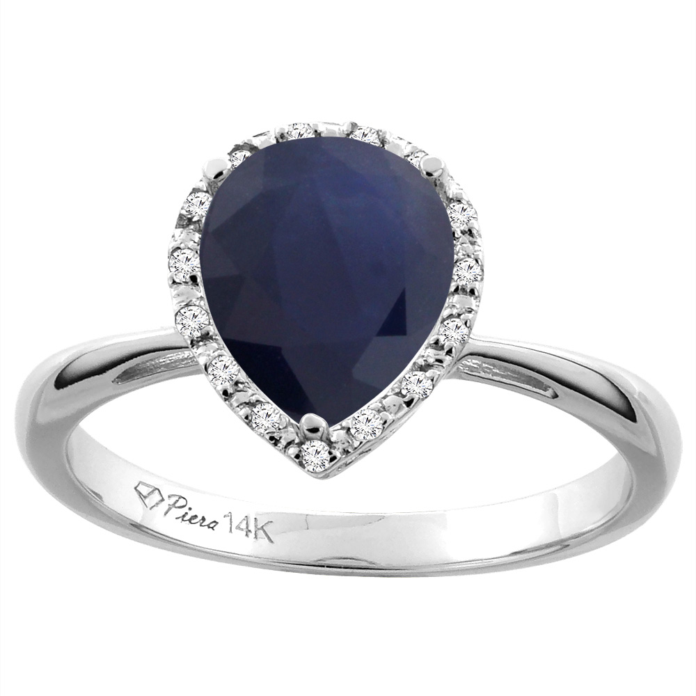 14K White Gold Natural Diffused Ceylon Sapphire & Diamond Halo Engagement Ring Pear Shape 9x7 mm, sizes 5-10