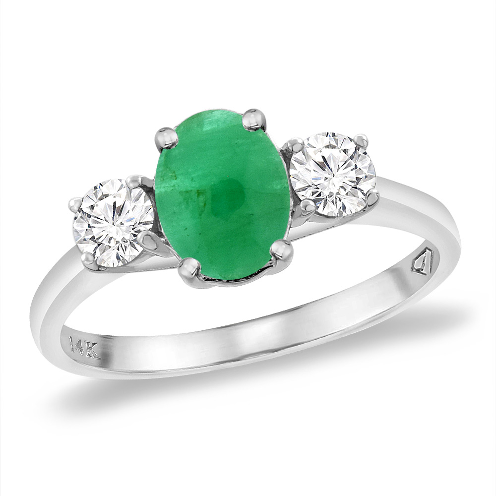 14K White Gold Natural Cabochon Emerald & 2pc. Diamond Engagement Ring Oval 8x6 mm, sizes 5 -10