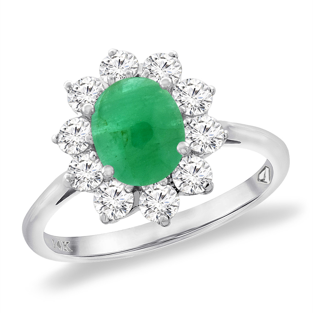 14K White Gold Diamond Natural Cabochon Emerald Engagement Ring Oval 8x6 mm, sizes 5 -10