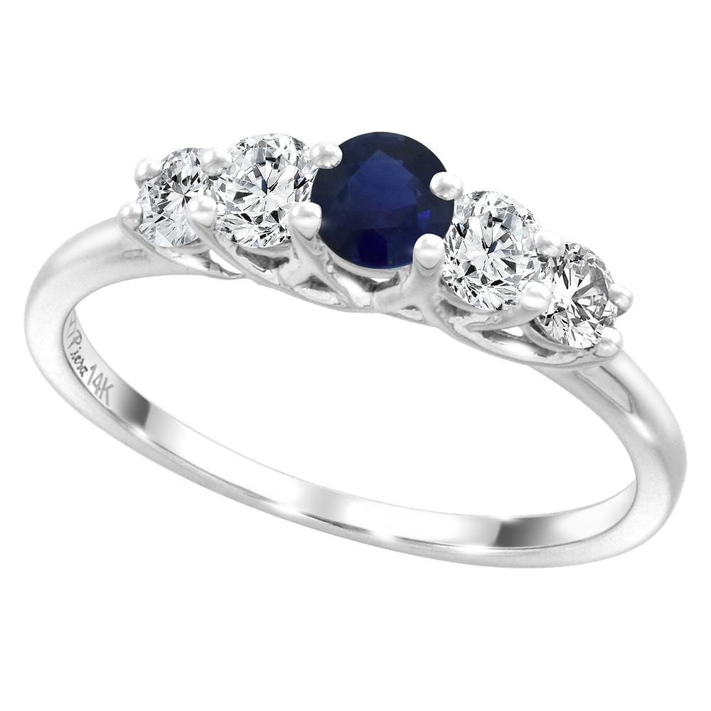 14k White Gold 0.4ct Diamond & Genuine Ceylon Sapphire 5-Stone Ring Round Brilliant cut 3.6mm, size 5-10