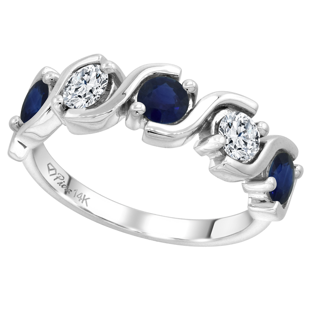 14k White Gold 5-Stone Genuine Ceylon Sapphire and Diamond Ring Round Brilliant cut 0.4ct 3.7mm,size5-10